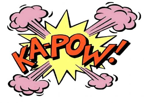 ART - POP ART - KA-POW  - WHITE canvas print - self adhesive poster - photo print
